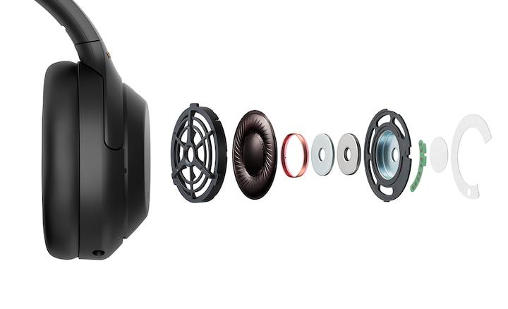 มุมมองเปิดของชิ้นส่วนภายในหูฟัง WH-1000Xm4