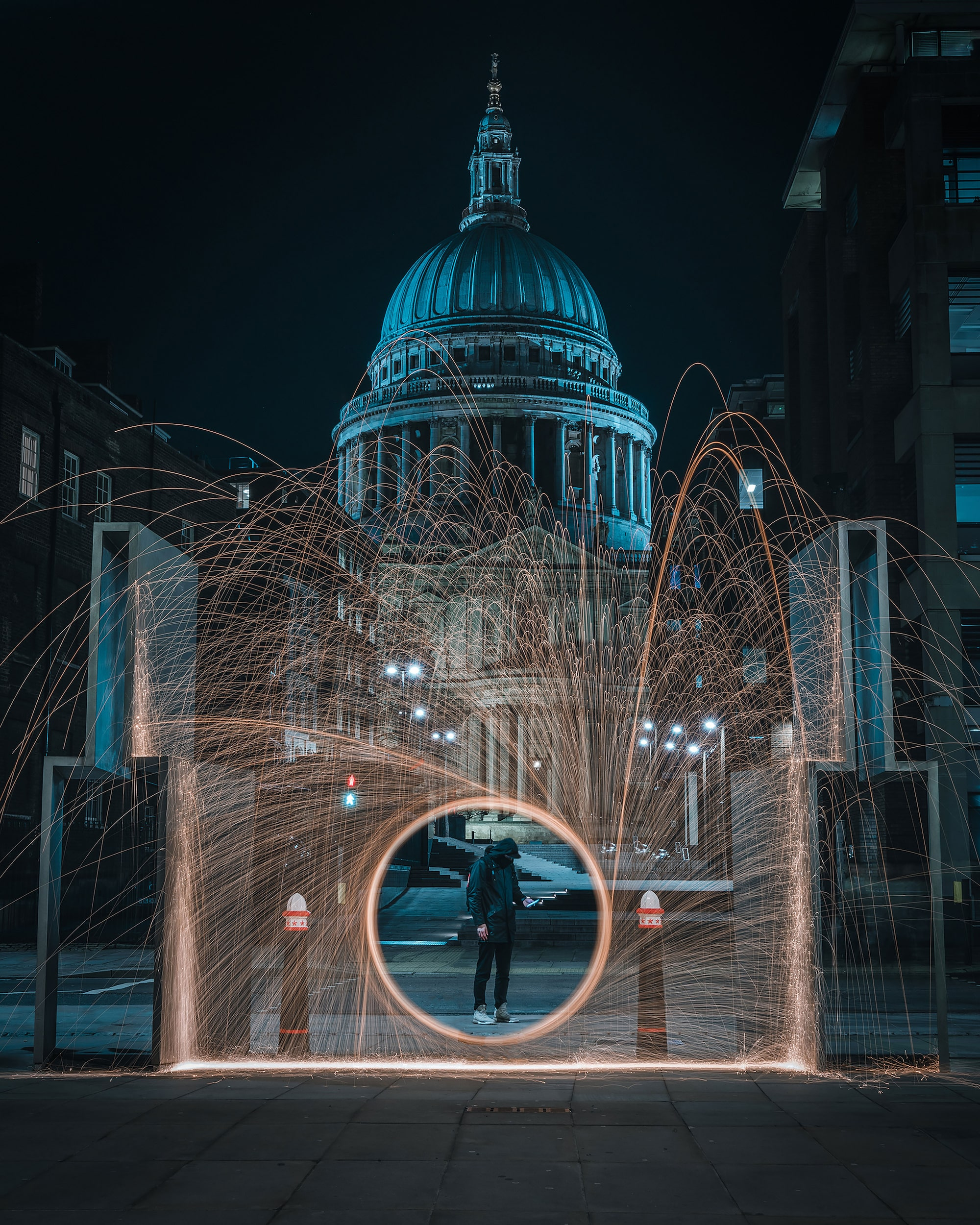 Slow shutter shot in front of London building