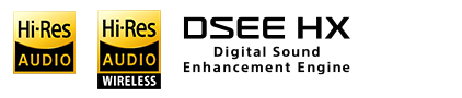 Hi-Res Audio and DSEE HX logos