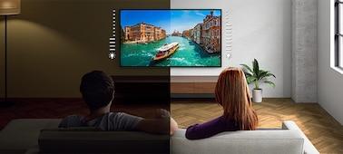 ภาพแยกแสดงความสว่างของทีวีในสภาพแสงและความมืด