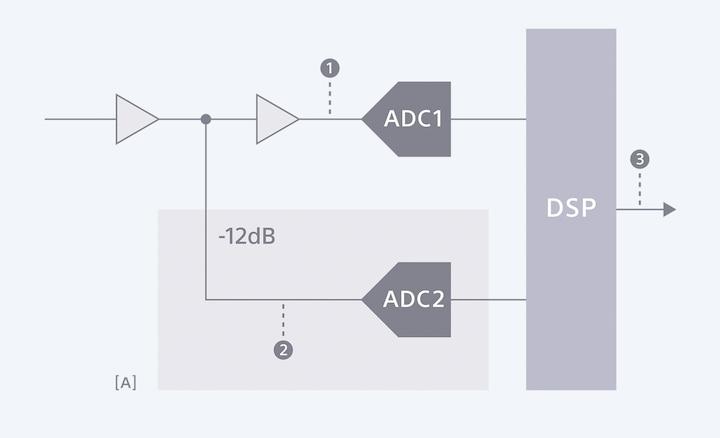 ไดอะแกรมแสดงวิธีที่ Digital Limiter ของ PCM-D10 ทำการบันทึกสำรองได้มากถึง -12dB