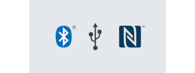 Bluetooth, USB and NFC logos