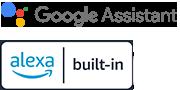 โลโก้สำหรับ Google Assistant และ Alexa