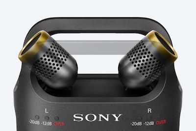 ไมโครโฟนที่ปรับได้ของ PCM-D10 ถูกจัดวางเพื่อบันทึกเสียงสเตอริโอในพื้นที่เปิดและกลางแจ้ง