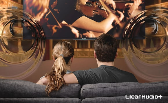 Couple enjoying 4K Smart TV with Sony ClearAudio